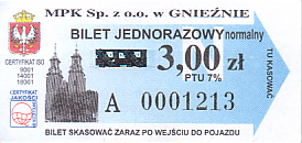 Communication of the city: Gniezno (Polska) - ticket abverse