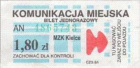 Communication of the city: Kielce (Polska) - ticket abverse