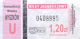 Communication of the city: Myszków (Polska) - ticket abverse