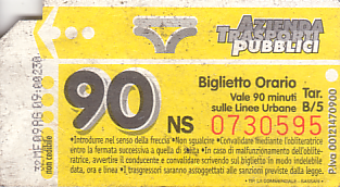 Communication of the city: Sassari (Włochy) - ticket abverse