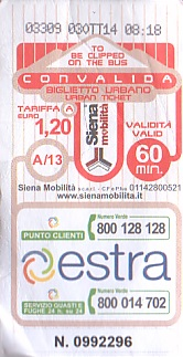 Communication of the city: Siena (Włochy) - ticket abverse