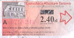 Communication of the city: Tarnów (Polska) - ticket abverse