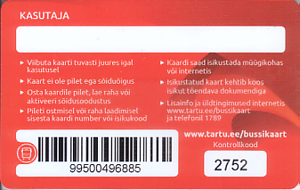 Communication of the city: Tartu (Estonia) - ticket reverse