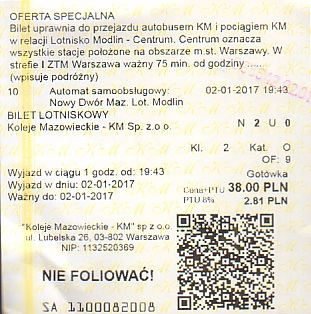 Communication of the city: Warszawa (Polska) - ticket abverse