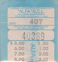 Communication of the city: Xalapa-Enríquez (Meksyk) - ticket abverse